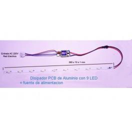 kit montaje de pantalla de LED para acuario 27W, con led de 3W (PCB 390 X 10 X 1)