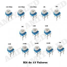 KIT 13 POTENCIOMETROS RM065 13 valores lote resistencia variable resistor pot trimmer