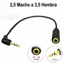 Adaptador para auriculares 2.5mm macho a 3.5mm hembra