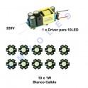 Kit driver + 10 LED 1W blanco frio 6500k / 8000K o 3500K Blanco Calido