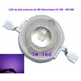 LED de alta potencia Ultravioleta de 3W UV 395 - 400NM