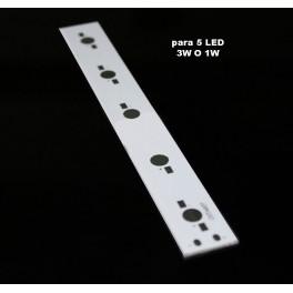 PCB impreso de aluminio, circuito de impreso para 5 LEDs 1W-3W
