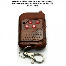 1 x Emisor con 4 botones para receptores de 4 canal 315 mhz de 12v (autolerning code)