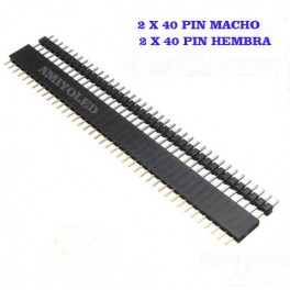 1 X Tira de 40 Pines Macho + 1 X Hembra Conector Pin Malé Paso Arduino Electrónica