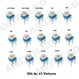 KIT 15 POTENCIOMETROS RM065 15 valores lote resistencia variable resistor pot trimmer