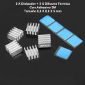 5x Disipador de Calor Pololu A4988 / A4983 Aluminio reprap 3D Heatsink printer + 5 almohadillas de silicona adhesiva