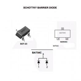 Diodo schottky WW1 BAT54C RECTIFIER, BARRIER DIODES, 0,2A 30V