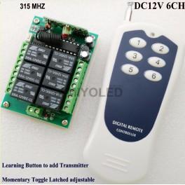 Emisor y receptor 12V inalámbrico RF de 6 canales de 12v