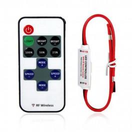 Mini Controlador dimmer RF para tiras de led unicolores con mando a distancia 10 botones.