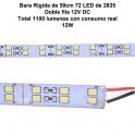 50cm Tira rigida 2835 de 12V, de doble fila 72 LED
