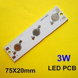 PCB impreso de aluminio, circuito de impreso para 3 LEDs 1W-3W