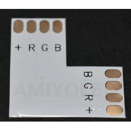 """Unión / conector rapido tipo """"L"""" esquina para tiras LED RGB"""