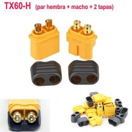 """Conector XT60-H """"par"""" Hembra y Macho + 2 tapas"""