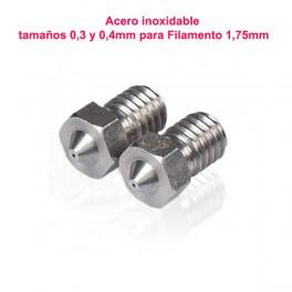 J-Head Boquillas de acero inoxidable (Nozle) de 0,3, 0,4 mm para extrusor (hot end) para filamento 1,75mm